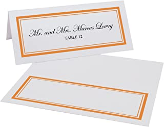 Documents and Designs Double Line Border Place Cards (Select Color), Orange, Set of 60