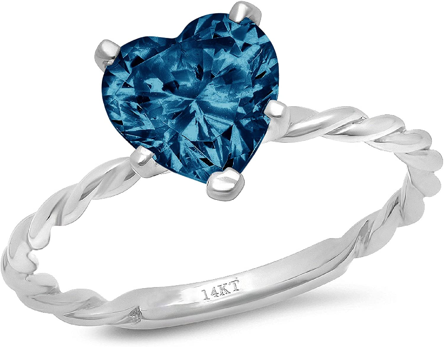 2.0 ct Brilliant Heart Cut Solitaire Rope Twisted Knot Natural London Blue Gem Stone Ideal VVS1 5-Prong Engagement Wedding Bridal Promise Anniversary Ring Solid 14k White Gold for Women