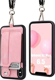 TOOVREN iPhone Xs Max Case, iPhone Xs Max Wallet Case, Protective PU Case with Kickstand Card Holder, Ajust Detachable Necklace Lanyard Strap Perfect for Apple iPhone Xs Max 6.5'' (2018) Pink