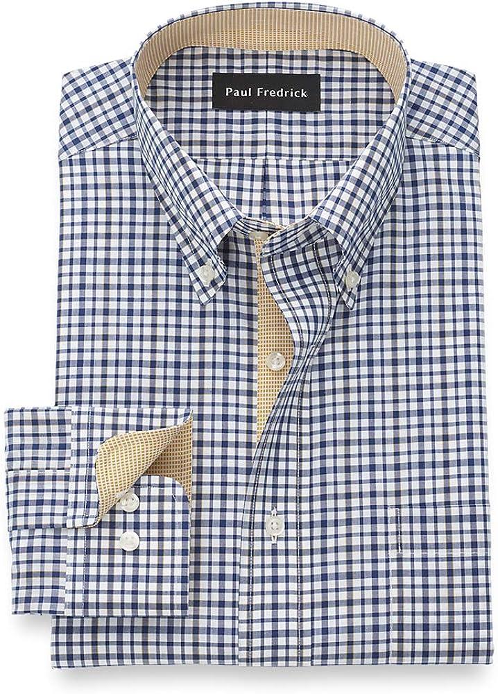 Paul Fredrick Men's Tailored Fit Super intense SALE Cotton Button Mail order cheap Check Non-Iron Do