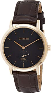 Citizen Mens Quartz Watch, Analog Display and Leather Strap - BE9173-07X