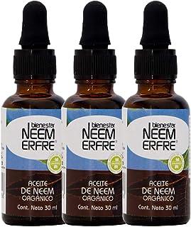 Aceite de NEEM Orgánico 100% puro sin diluir - Azadiractina - Natural Vegano Biodegradable- Kit de 3-30 ml c/u 1.01 fl. oz...