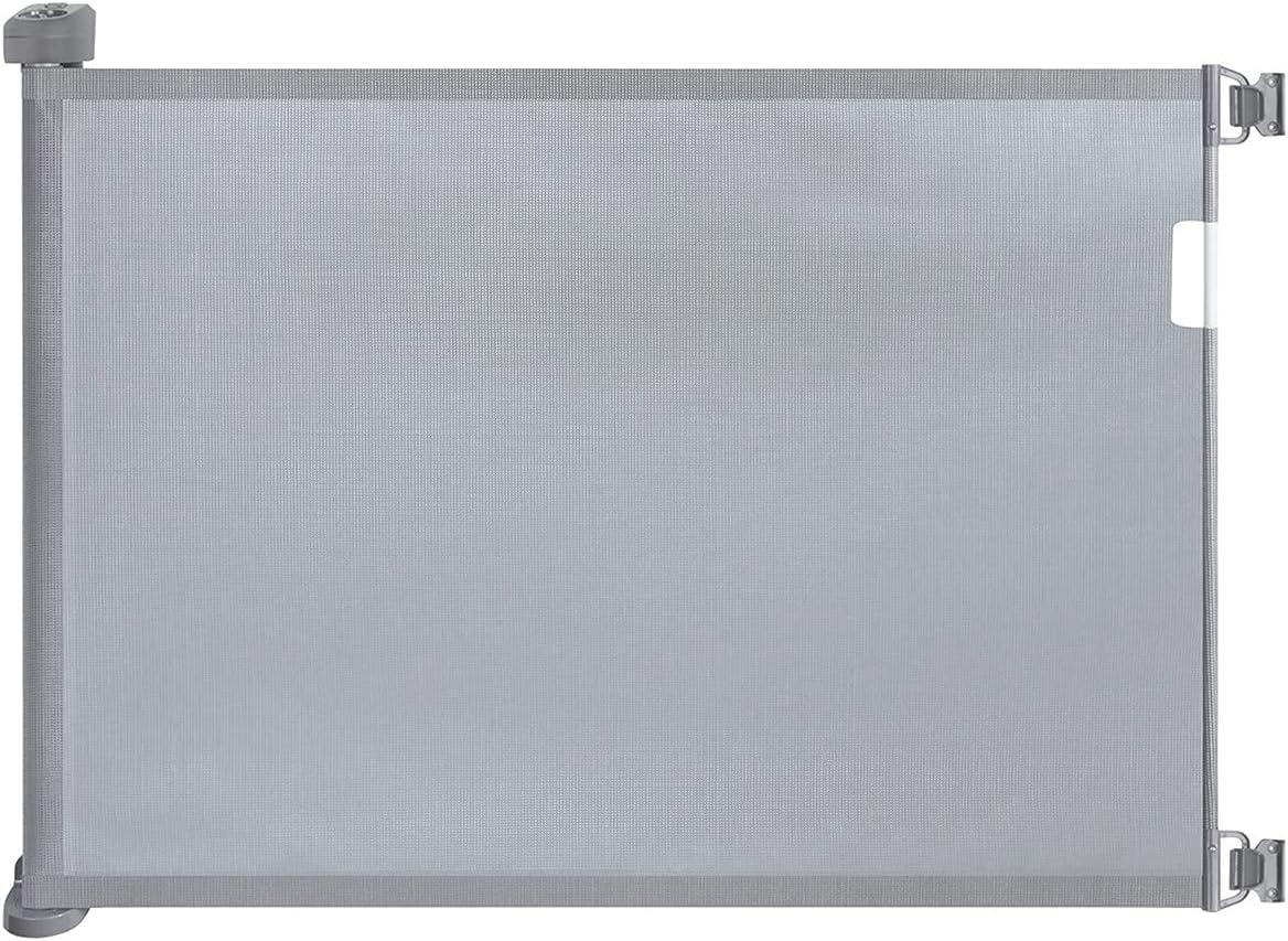 WholeFire 0-180cm Barrera Seguridad Niños Escalera, Estrecha Extra Ancha Interior y Exterior Puerta Retráctil para Bebé, Operación con Una Sola Mano Puertas de Escalera para Escaleras, Pasillos