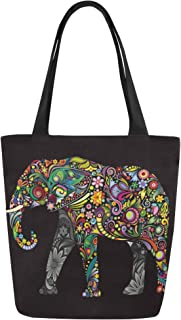 InterestPrint Tribal Ethnic Elephant Canvas Tote Bag Shoulder Handbag for Women Girls