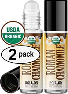 Organic Roman Chamomile Roll On Essential Oil Rollerball (2 Pack - USDA Certified Organic) Pre-diluted with Glass Roller Ball for Aromatherapy, Kids, Children, Adults Topical Skin Application - 10ml