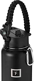 IRON °FLASK Paracord Handle - Fits Wide Mouth Water Bottles - Durable Hydro Carrier, Secure Accessories, Survival Strap Cord, Safety Ring, and Carabiner - Seven Core Paracord Bracelet