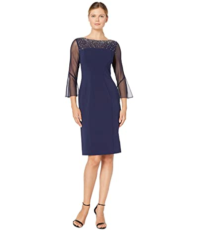 Alex Evenings Short Sheath Dress with Embellished Illusion Neckline (Navy/Silver) Women