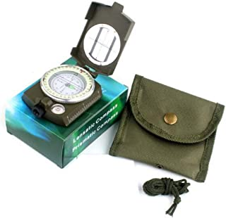 Lensatic Prismatic Sighting Compass, Multifunctional Compass with Canvas Pouch, Shock Proof & Durable Aluminum Hiking Outdoor Scout Compass with Adjustable Diopter Lens (Army Green)