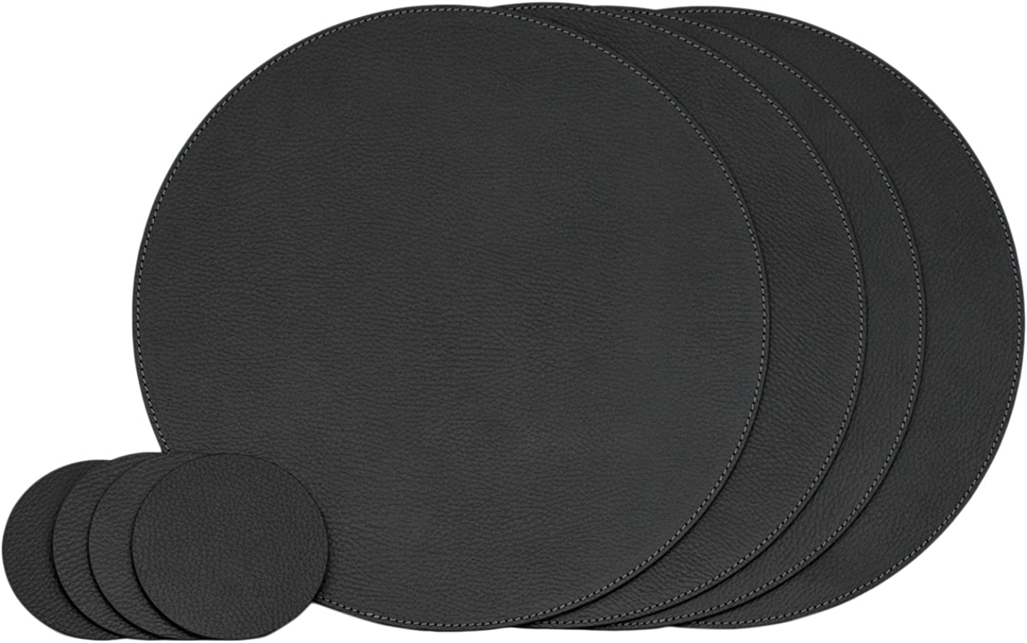 Nikalaz Set of Round Black Placemats and Coasters, 4 Table Mats and 4 Coasters, Place mats 12.99'' and Coasters 3.9'', Recycled Leather (Black)