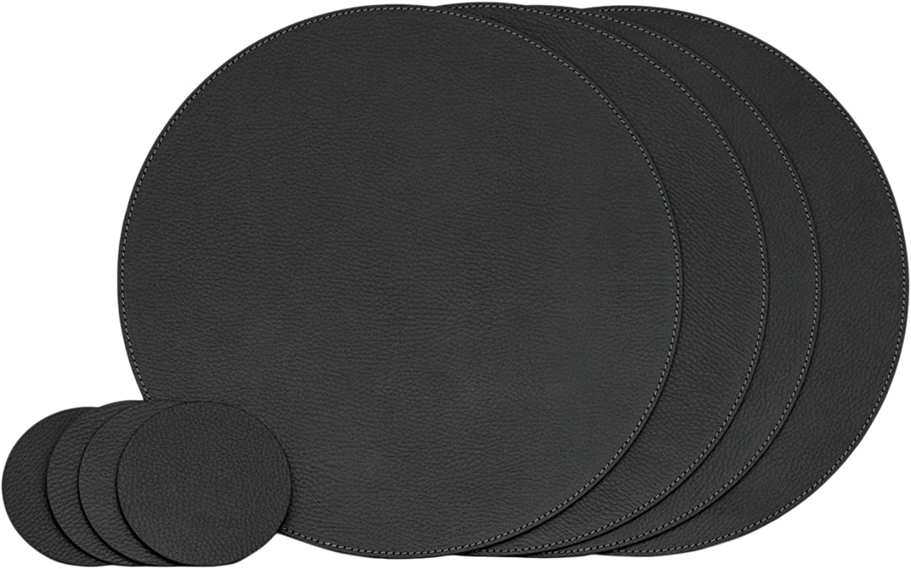 Nikalaz Set Of Round Black Placemats And Coasters 4 Table Mats And 4 Coasters Place Mats 12 99 Inches Recycled Leather Black