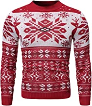 Men's Warm Christmas Printed Knitted Pullover Round Neck Long Sleeve Sweatshirts Plus Size Elastic Casual Winter Tops