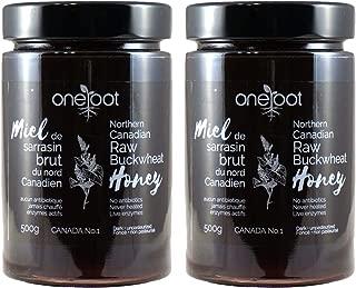 Oneroot Raw Honey, 100% Pure Natural Honey From Canada North in Glass Jar, 17.6oz/500g (Buckwheat, 2 Pack) (Buckwheat, 2 Pack)