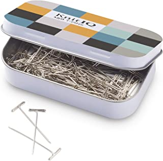 KnitIQ Strong Stainless Steel T-Pins for Blocking, Knitting & Sewing | 150 Units, 1.5 Inch -Pin Needles | Comes with Hinged Reusable Tin (Checkered Design)