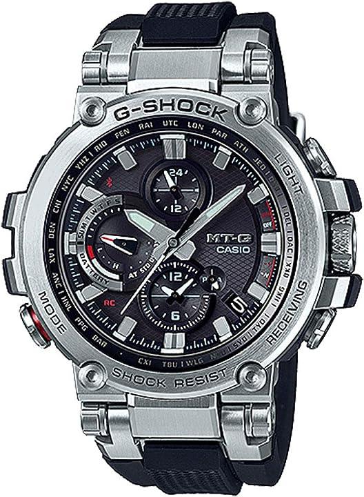 Orologio casio g-shock men`s analog mt-g mtgb1000-1a analog-quarzo stainless steel watch silver MTG-B1000-1ACR