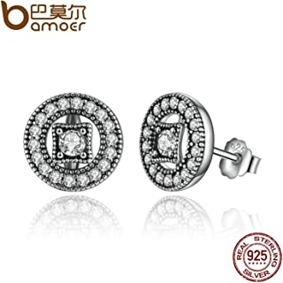 Authentic Real 925 Sterling Silver Vintage Allure, Clear CZ Stud Earrings Women Wedding Jewelry Femme Brincos