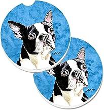 Caroline's Treasures Blue Boston Terrier Set of 2 Cup Holder Car Coasters SC9140BUCARC, 2.56, Multicolor