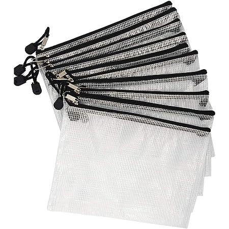 ジッパー式ファイル袋 ファイルケース メッシュドキュメントバッグ 新聞 雑誌 現金 ジッパー ファイルバッグ 收納袋 クリアホルダー A5判 PVC製 撥水 網目 ファスナ付 (10枚/A5)