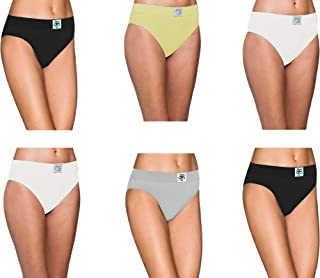 Pepperika Women's Plus Size (Size 4XL) High Middle Waist 100% Soft Breathable Cotton Hipster Brief Underwear Solid Color Full Coverage Hi Cut Panties (Pack of 6)