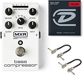 MXR M87 Bass Compressor Effects Pedal Bundle with 2 MXR Patch Cables and Dunlop Nickel Wound Bass Strings (Medium .045–.105)