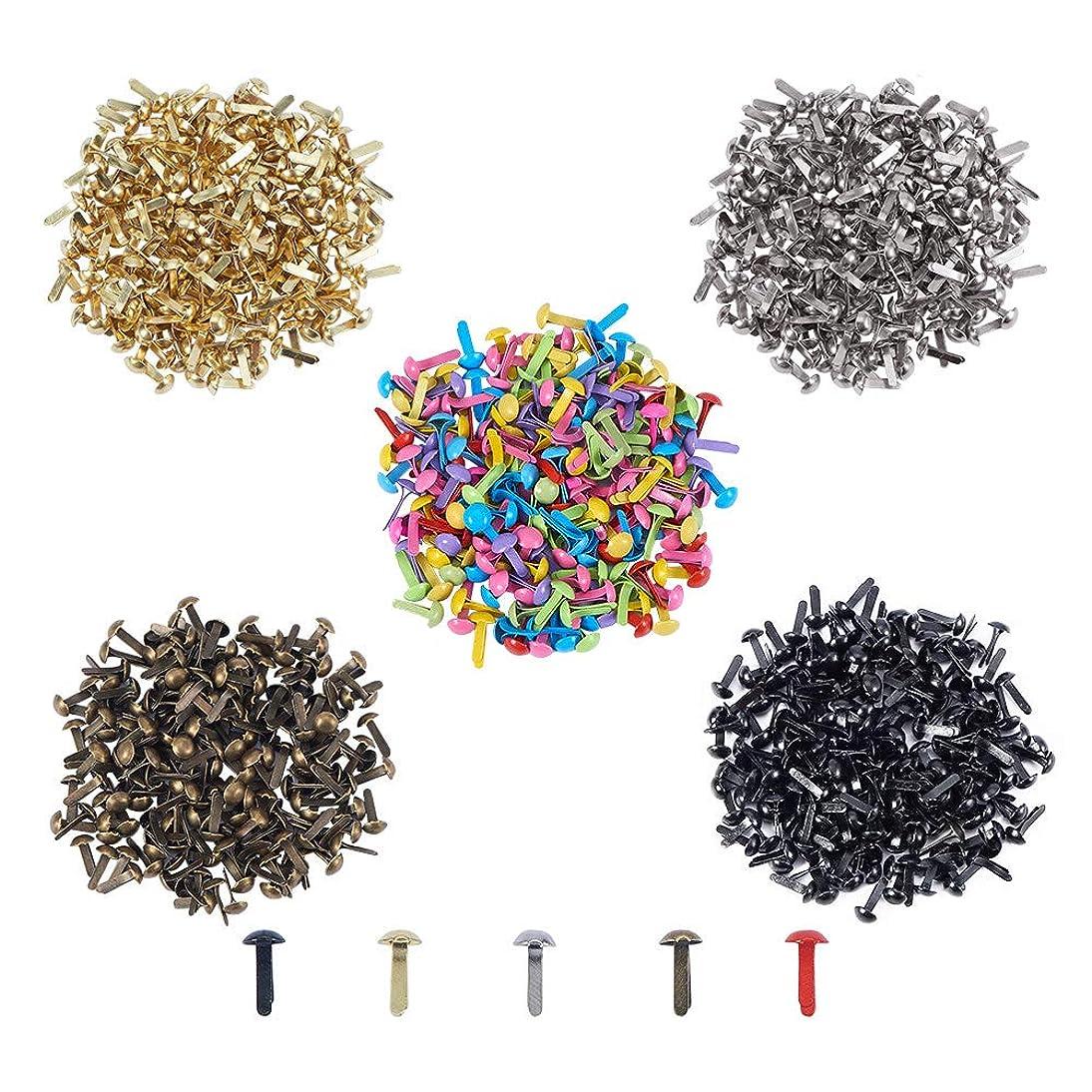 PH PandaHall 1000pcs 5 Colors Mini Brads Fasteners Metal Paper Fasteners Brass Plated Scrapbooking Brads for Crafts Making DIY