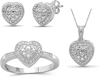 3-Piece White Diamond Sterling Silver Earrings Set, Sterling Silver Necklace, Sterling Silver Rings – Heart Shaped Jewelry...