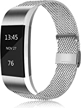 AK MetalLoop Band Compatible with Fitbit Charge 2 Bands, Replacement Stainless Steel Mesh Wristband with Magnet Lock (Wit...