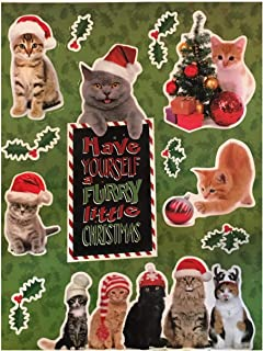 Plum Nellie's Treasures Christmas Window Decals LED Light Up - Christmas Gel Clings - 3 Pack - 3.5 inches (Cat Christmas Furry Little Christmas)