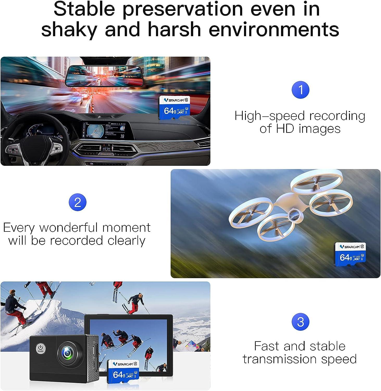 VStarcam 64GB SD Card Class 10 Flash Memory Card for Security Cameras Drones Cameras Cell Phone