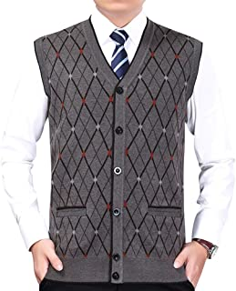 V-Neck Sleeveless Vest Waistcoat Mens Classic Style Knitwear Cardigans Knitted Sweater Gilets Tank Tops