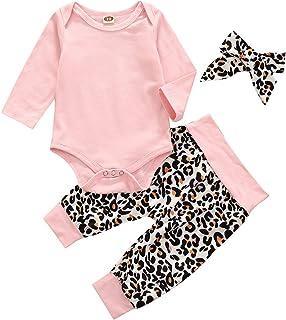 Carolilly 3-teiliges Set für Babys, Mädchen, Herbst, Winter, Strampler mit langen Ärmeln  Leopardenhose  Haarband
