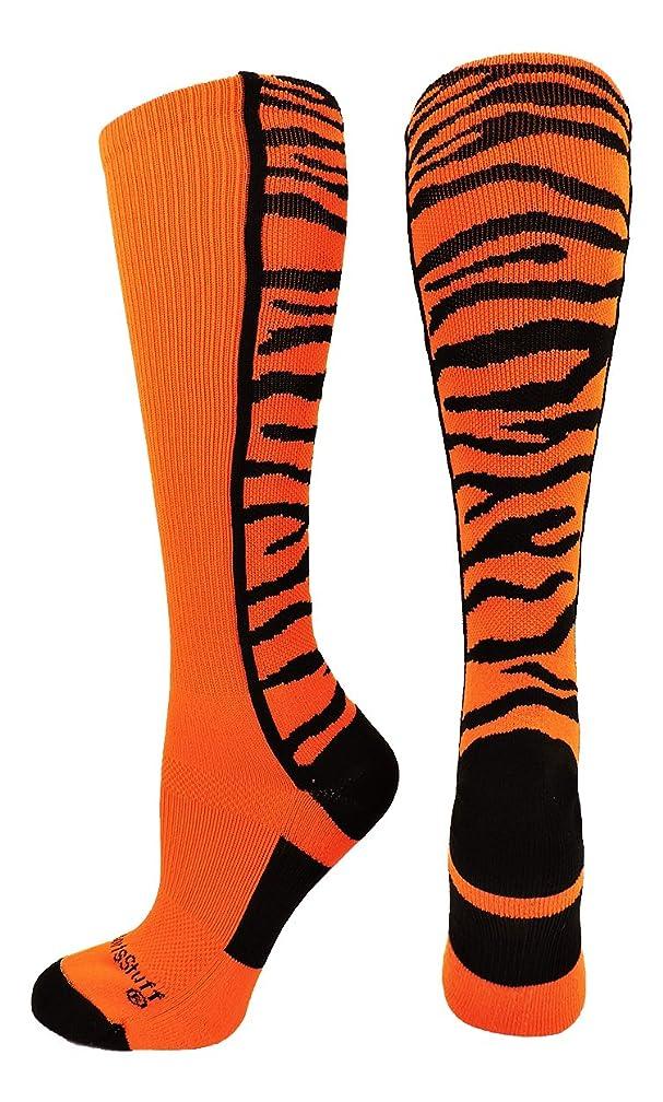 MadSportsStuff Crazy Socks with Safari Tiger Stripes Over The Calf Socks (Multiple Colors)