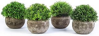 YHmall 4pcs Plante Artificielle Plantes Synthétiques Décoratives en Plastique, Idéales pour Décoration Table Jardin Bureau