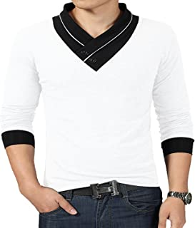 YTD 100% Cotton Mens Casual V-Neck Button Slim Muscle Tops Tee Short Sleeve T-Shirts