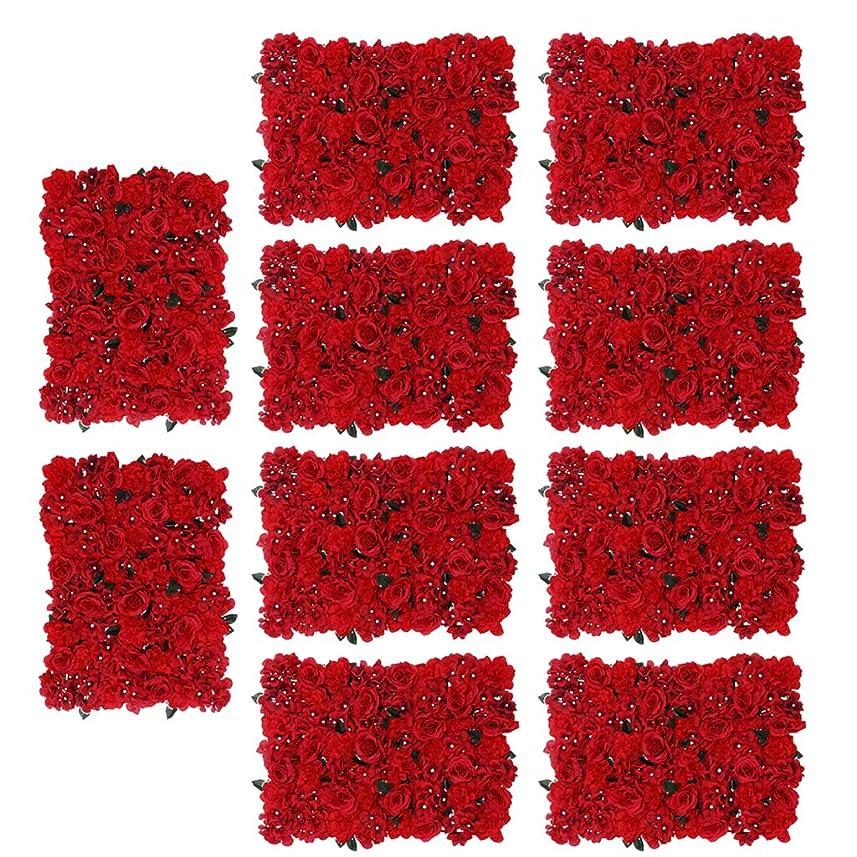 破裂起訴する頼るKESOTO バラ フラワー 造花 人工花パネル 壁装飾 ロマンチック 結婚式 パーティー 多仕様選べ - 赤, 10個