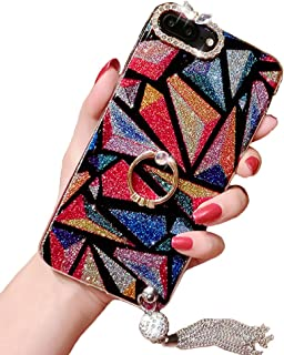 Black Lemon Case Compatible for iPhone 6 Plus/6s Plus, Luxury Hybrid Bling Glitter Diamond Soft Silicone Gel Rubber Beauty Shiny Sparkling Cute Protective Cover Case for Girls with Ring Stand Holder