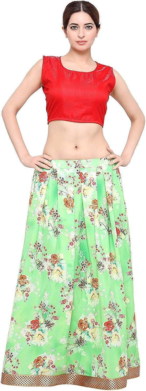 Indian Handicrfats Export Admyrin Women Green Crepe Digital Printed Skirt