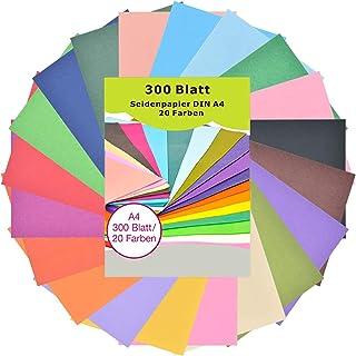 Seidenpapier 300 Blatt A4 - bunt 20 Farben, 16 g/qm transparentpapier bunt, buntes papier a4, bastelpapier zum Kreieren von Pompoms, Papierblumen, Tischdeko, dass in geschenktüten gestopft wird