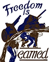 Posterazzi Vintage World War II Showing a Tank and Artillery Gun Moving Forward on The Backs of Workers. It Reads Freedom is Earned. Poster Print (24 x 32)