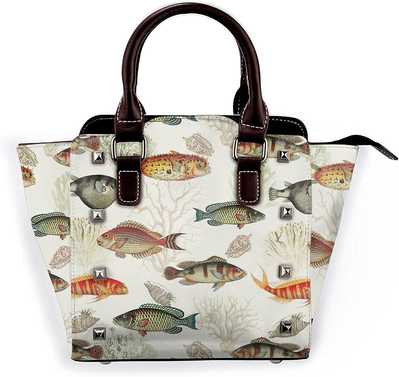 Fish And Coral Leather Max 74% OFF Rivet Bag Purse Handbag 55% OFF Shoulder Microfib