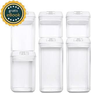 BASIL | Recipientes Almacenamiento Comida al Vacío - Juego de 6 Piezas - Cajas de Plástico Transparente para Alimentos y Tapa con Bomba - Cierre Hermético para Conservar en Armarios y Refrigeradora