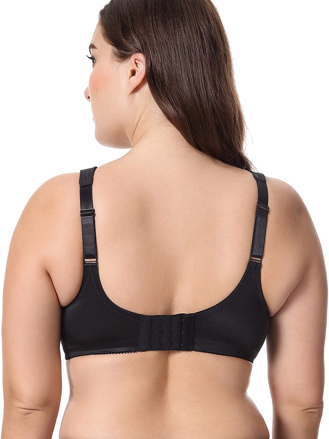 LAUDINE Womens Unlined Full Figure Support Wirefree Minimizer Plus Size Bra