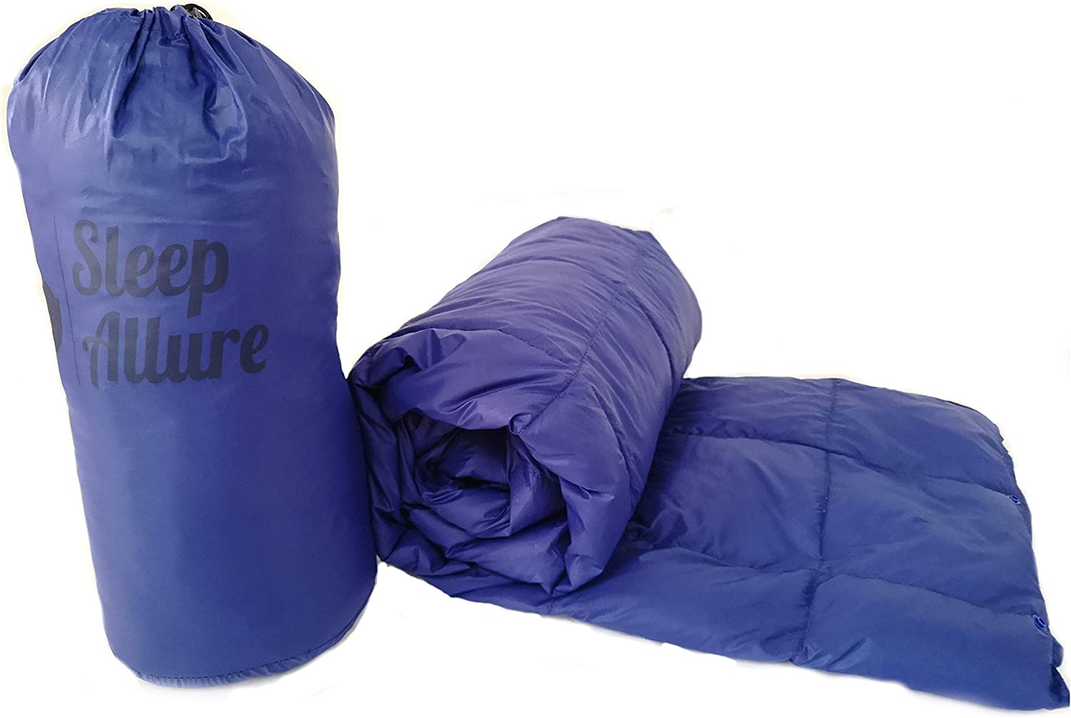 Sleep Allure Camping Blanket Indoor Outdoor Puffy 600 Fill Power Duck Down Throw with Buttons for Camping Hiking blueee