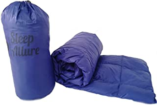 Sleep Allure Camping Blanket Indoor Outdoor Puffy 600 Fill Power Duck Down Throw with Buttons for Camping Hiking Blue