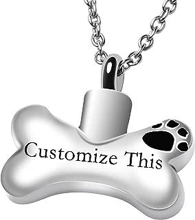 Dog Bone Personalized Custom Cremation Jewelry Urn Necklace for Ashes Keepsake Dog Cat Pet Memorial Pendant