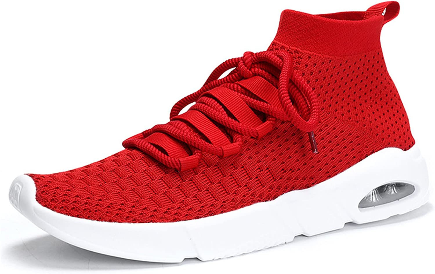 MOOKEY Men Trainers Sneakers Sport Sock Gym Fitness Breathable Running High Top Lace up Driving Weave shoes