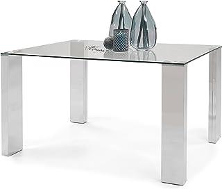 Homely - Mesa de Comedor Karina II de 140X90 Tapa de Cristal Templado y Patas con terminación de Acero Pulido Acabado Brillo