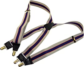 product image for Holdup Brand Khaki Tan and Navy Striped Men's Suspenders with X-back Style and Gold Tone no-slip Patented clips