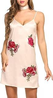 Zeagoo Women's Sexy Rose Embroidery Nightgown V Neck Mini Satin Slip Dress