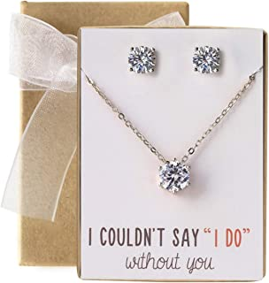 Bridesmaid Jewelry Gift Cubic Zirconia Necklace Set