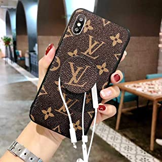 Phone case for iPhone XR Case, PU Leather Designer Fashion Monogram Classic Style Soft Cover with Phone Stand Cover Case for iPhone XR